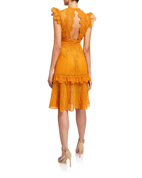 Saylor Ivy Sleeveless Lace Cocktail Dress with Ruffle Trim