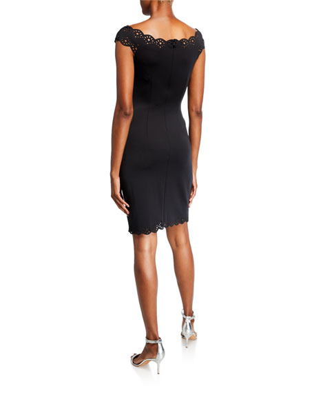SHO Lattice Edge V-Neck Cap-Sleeve Sheath Dress