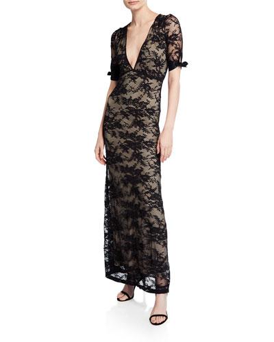 Fiora V-Neck Short-Sleeve Lace Column Dress