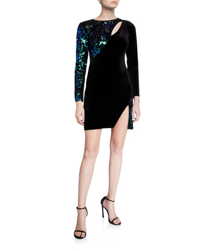 Sequin Velvet Long-Sleeve Mini Cutout Dress with Split