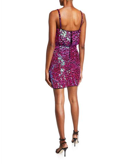 SHO Sequin Mock-Wrap Blouson Slip Dress