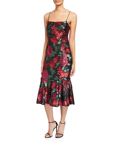 Deidre Floral Sequin Slip Dress