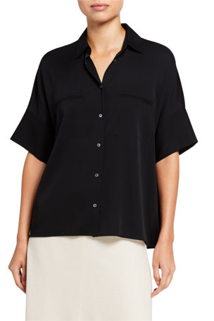 Vince Short-Sleeve Button-Down Stretch Silk Blouse