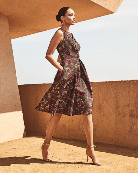 Kay Unger New York Adrianna Floral Jacquard Dress w/ Pockets