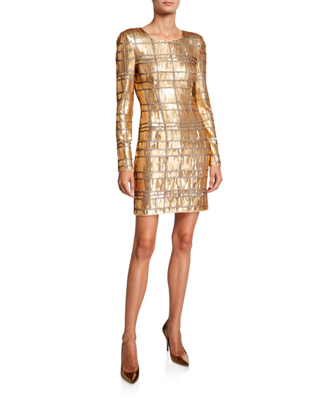 Misha Ava Geometric Sequin Long-Sleeve Sheath Dress