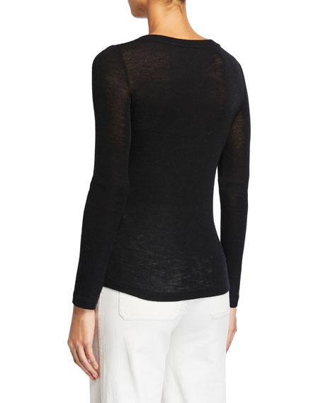 Vince Open V-Neck Long-Sleeve Wool Sweater