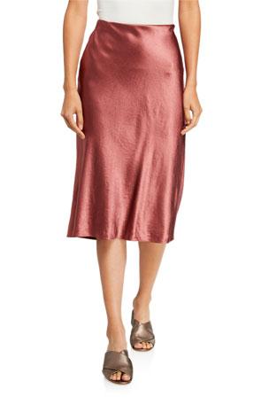 Vince Satin Midi Slip Skirt