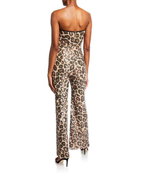 SHO Sequin Cheetah Sweetheart Bustier Jumpsuit