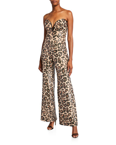 Sequin Cheetah Sweetheart Bustier Jumpsuit
