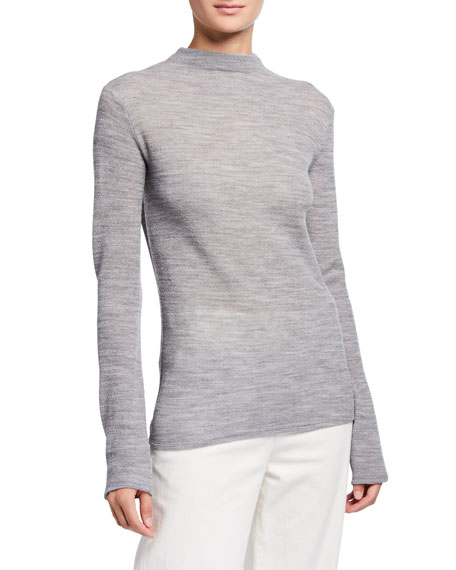 Vince Long-Sleeve Funnel-Neck Wool Top