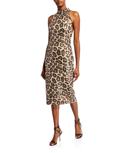 Sequin Cheetah Sleeveless High-Neck Dress