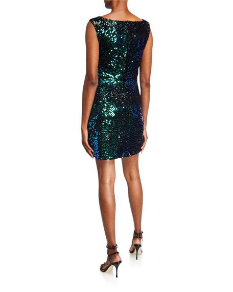 SHO Sequin V-Neck Sleeveless Short Cocktail Dress