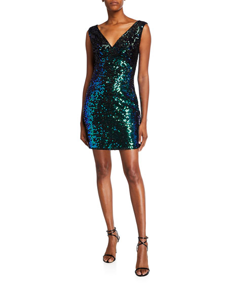 SHO Sequin V-Neck Sleeveless Short Cocktail Dress