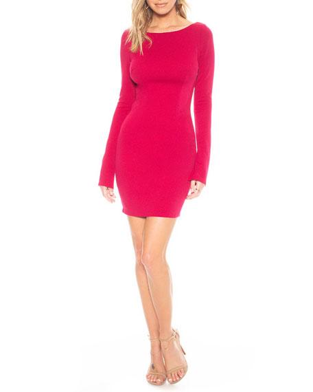 Katie May Glisten Long-Sleeve Mini Cowl-Back Dress