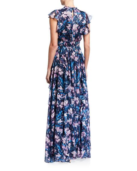 Shoshanna Triana Floral Clip Dot Flutter-Sleeve Ruffle-Trim Gown
