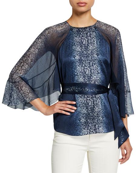 Elie Tahari Matilda Python-Print Draped-Sleeve Silk Blouse