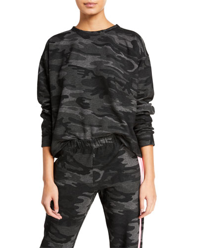 Dinna Camo-Print Striped Sweatshirt