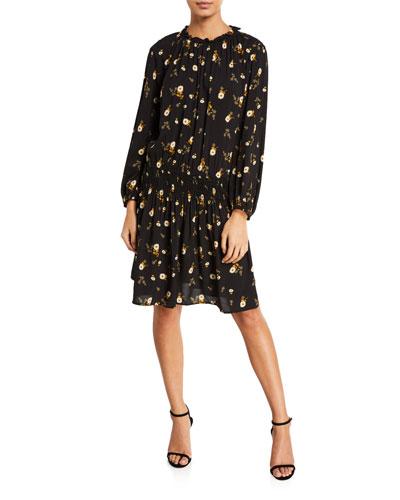 Leslie Floral-Print Smocked Short Dress