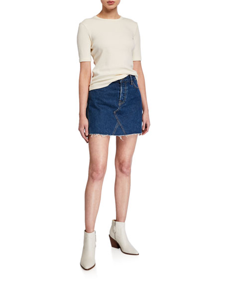 GRLFRND Eva Frayed Denim Skirt