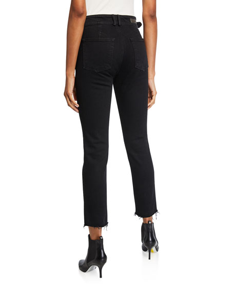 GRLFRND Zoey Belted Cropped Straight-Leg Jeans