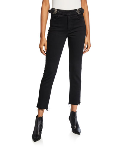 Zoey Belted Cropped Straight-Leg Jeans