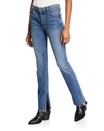 Addison Straight-Leg Raw-Edge Jeans