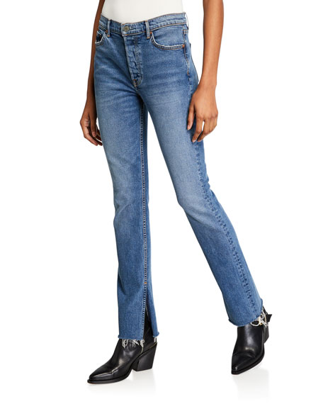 GRLFRND Addison Straight-Leg Raw-Edge Jeans