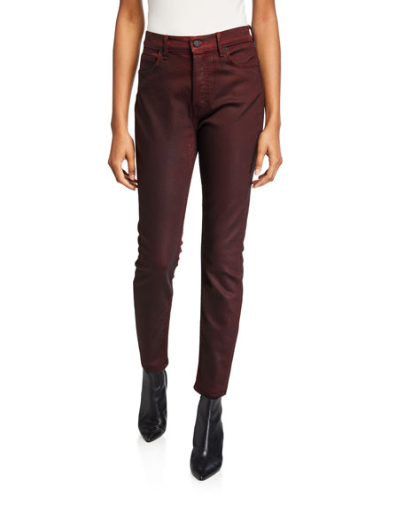 GRLFRND Karolina High-Rise Cropped Coated Skinny Jeans - Malbec