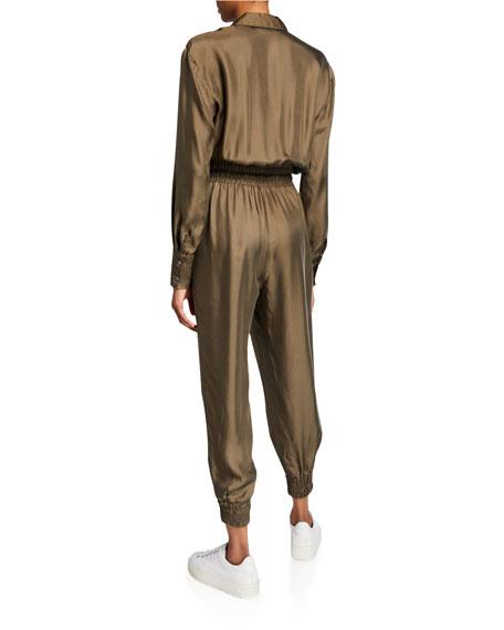 cinq a sept Joyce Long-Sleeve Button-Front Jogger Jumpsuit