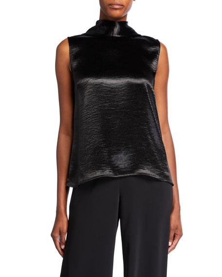 Caroline Rose Plus Size Hammered Satin Jabot Sleeveless Shell