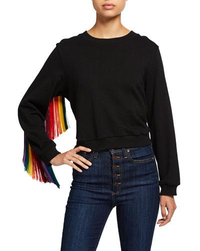 Calvin Fringe-Sleeve Sweater