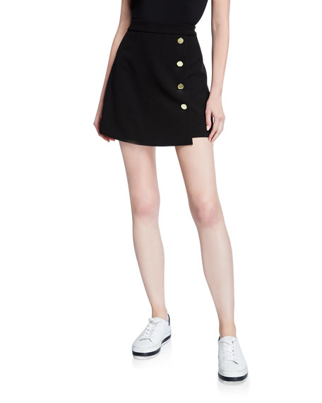 Image 1 of 3: Alice + Olivia Sherilyn Wrapped Button-Front Skirt