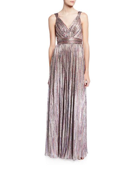 Catherine Deane Metallic V-Neck Sleeveless Knitted Dress
