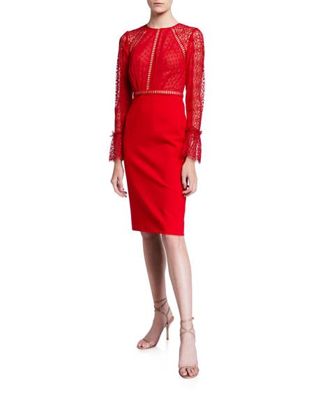 Catherine Deane Chiffon-Ponte Lace Long-Sleeve Cocktail Dress