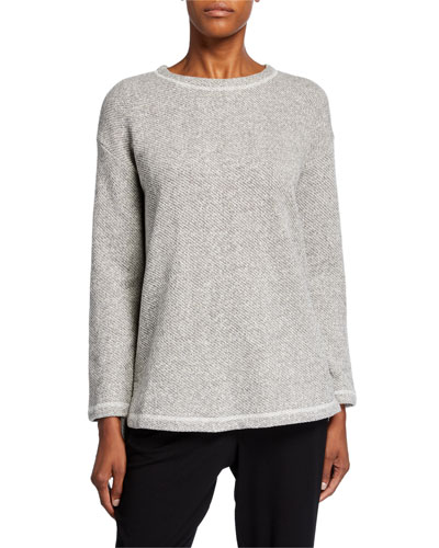 Plus Size Organic Cotton Twist Terry Crewneck High-Low Tunic