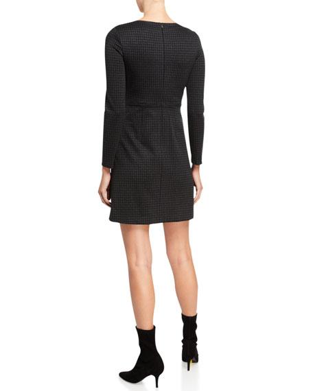 Theory Kamillina Houndstooth Knit Seamed-Waist Dress