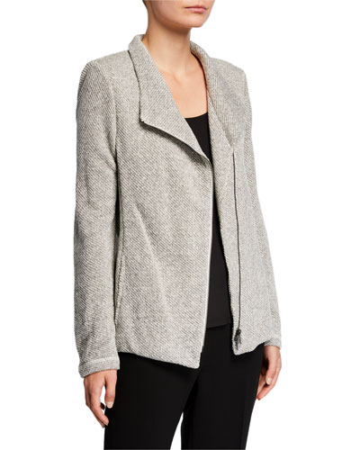 Plus Size Organic Cotton Twist Terry Zip-Front Moto Jacket