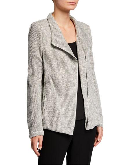 Eileen Fisher Petite Organic Cotton Twist Terry Zip-Front Moto Jacket