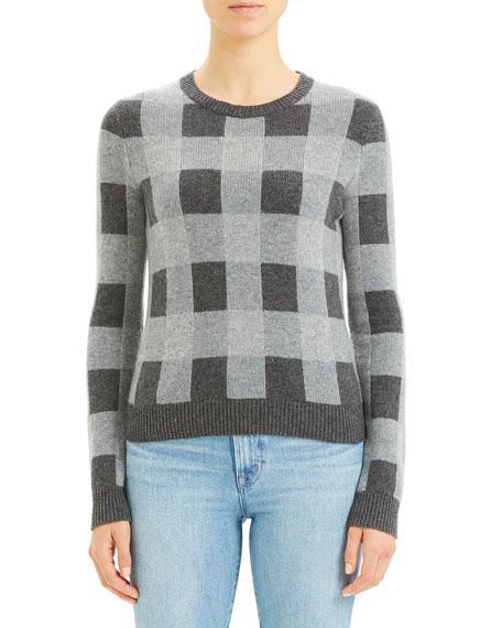 Theory Plaid Crewneck Cashmere Sweater