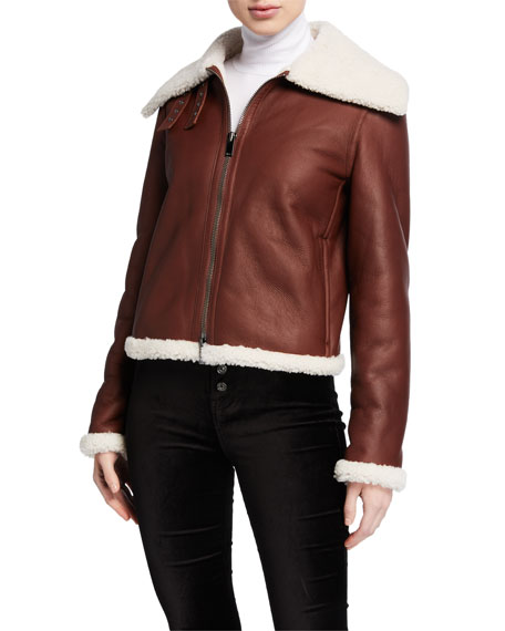 Theory Shearling Leather Moto Jacket