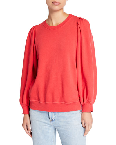 Pleated-Sleeve Sweatshirt