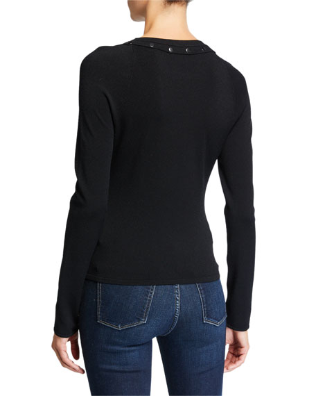 Autumn Cashmere Snap Raglan-Sleeve Sweater