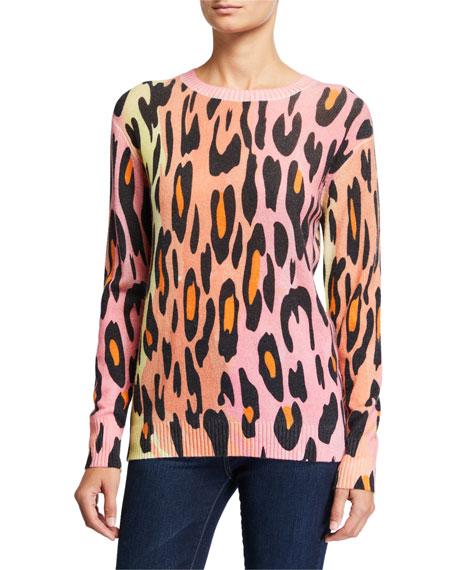 Autumn Cashmere Ombre Leopard-Print Crewneck Sweater