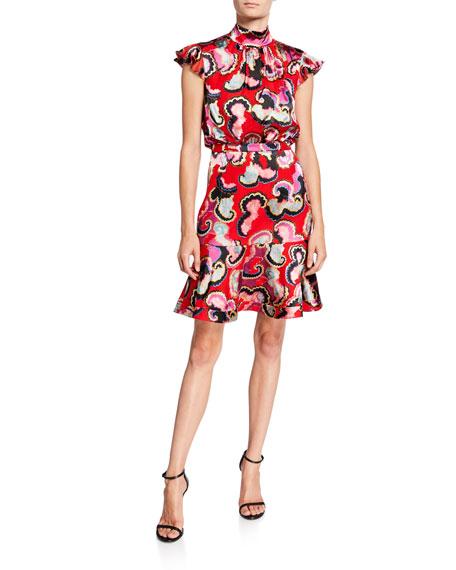 Saloni Dresses PHEOBE PRINTED CAP-SLEEVE FLOUNCE DRESS