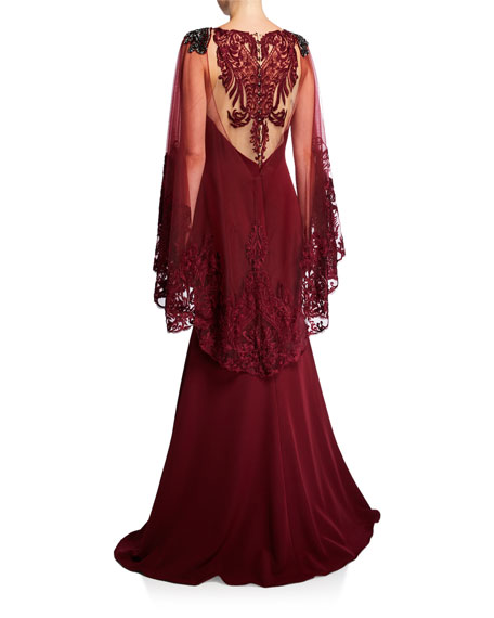 Badgley Mischka Couture Jeweled Cape Racer Gown