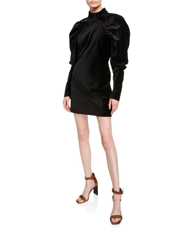 Velvet Puff Sleeve Mini Dress With Buttons by Rotate Birger Christensen