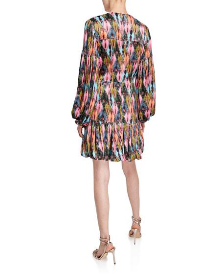 Rotate Birger Christensen Printed V-Neck Blouson-Sleeve Short Dress