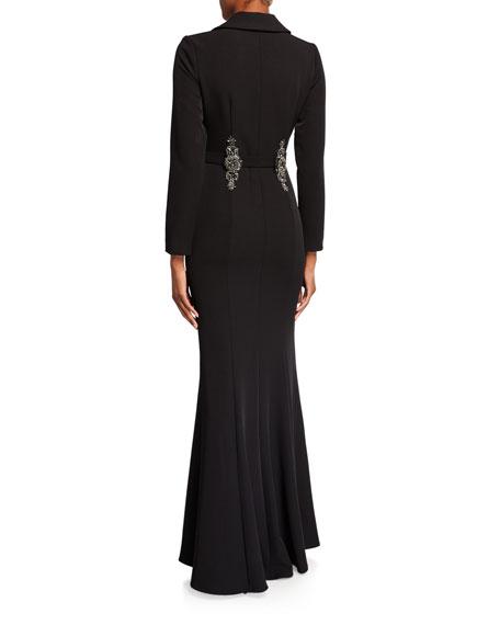 Badgley Mischka Couture Deep V-Neck Coat Gown w/ Beaded Belt Loops