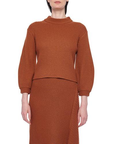 Ribbed Merino Sweater with Slit Neckline