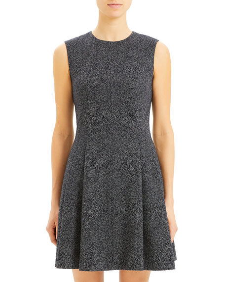 Theory Sleeveless Seamed Speckle Knit Fit-&-Flare Dress